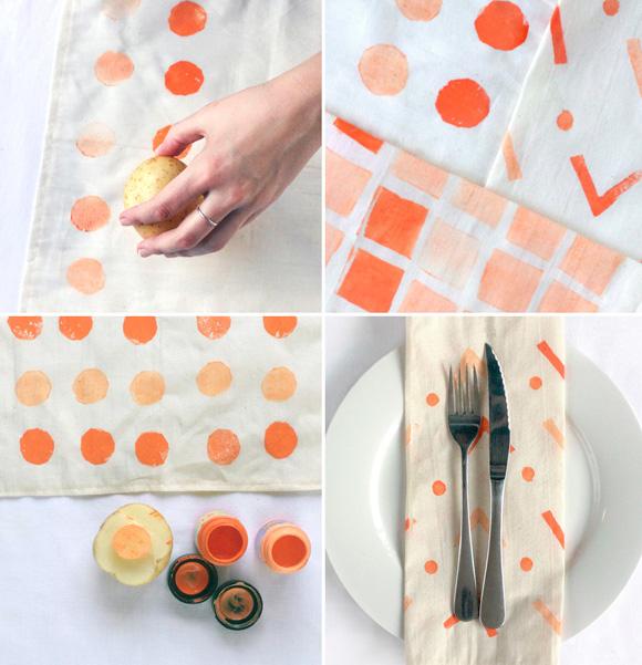 DIY potato stamp napkins